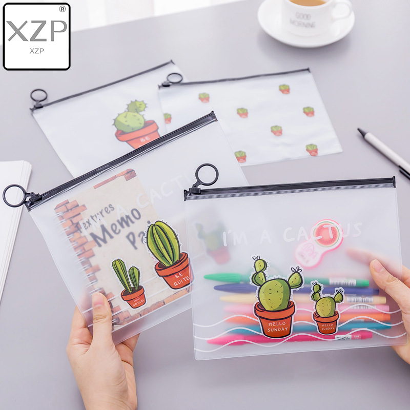 XZP Cute Cactus Transparent Scrub Cosmetic Bag Women Make Up Case Waterproof Makeup Beauty Wash Organizer Toiletry Storage Kit