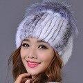 Genuine Mink Fur Casquillo Hembra con Pom Poms Bola de la Piel de Alta calidad de Punto Skullies y Gorritas Tejidas Sombrero De Piel de Visón Real para Las Mujeres