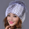 Genuine Mink Fur Female Cap with Fur Ball Pom Poms High Quality Knitted Skullies & Beanies Real Mink Fur Hat for Women