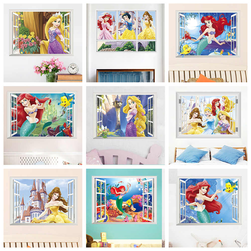 Snow White Cinderella Aurora Princess 3d Window Wall Stickers For Kids Room Home Decoration Cartoon Mural Art Girls Wall Decals