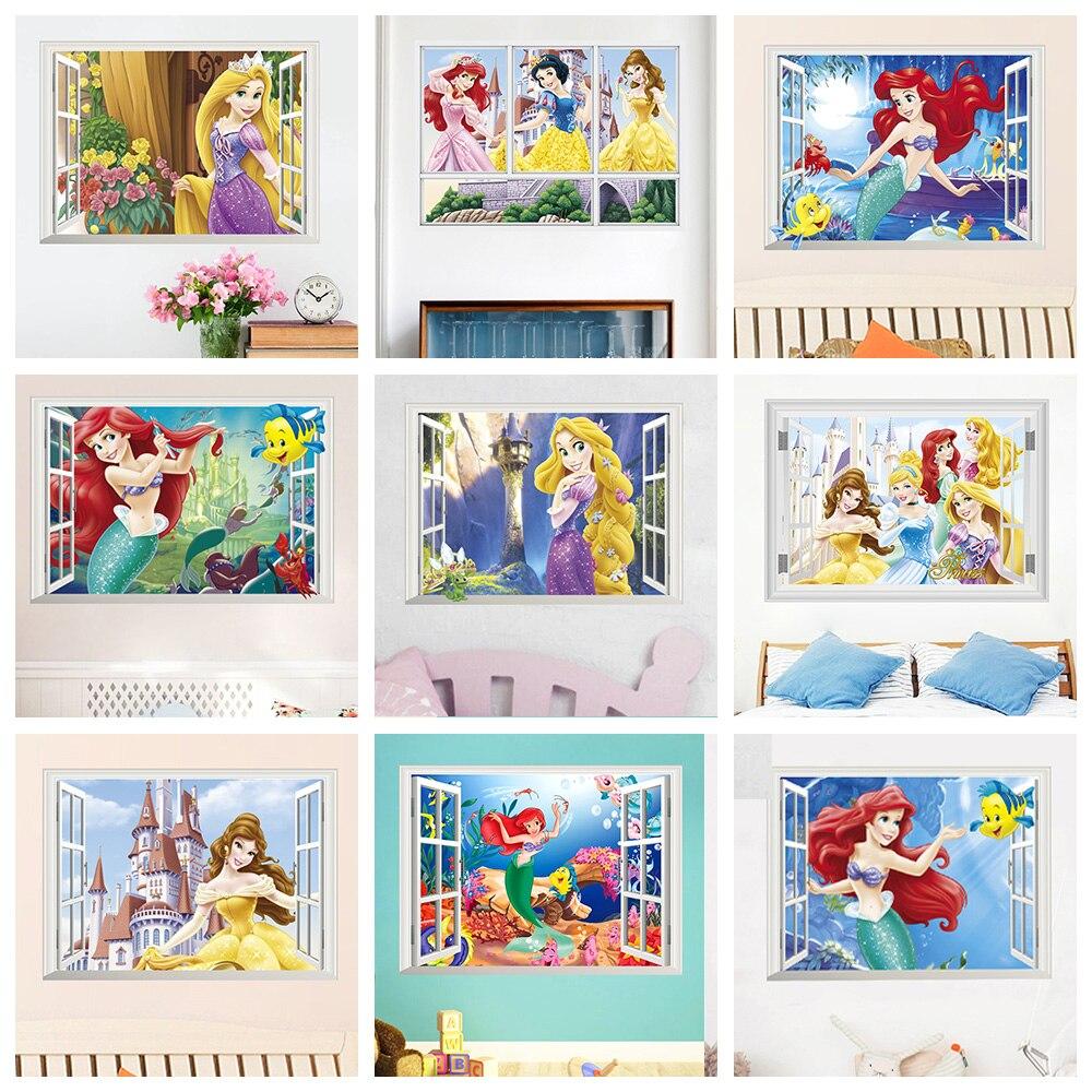 Stickers Pour Fenetre Chambre neige blanche cendrillon aurora princesse 3d fenêtre
