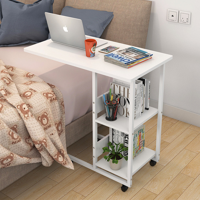 Movable Mini Laptop Desk Portable Bookshelf Coffee Table Computer Storage Rack With 2