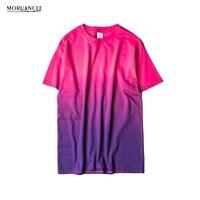 MORUANCLE Unisex Harajuku Urban Clothing T Shirts Tie Dye Colored Gradual Tshirt Funny T Shirt 100