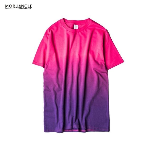 Moruancle unisex harajuku urbano clothing camisetas tie dye colorido  gradual tshirt engraçado camiseta 100% algodão f76acc78a52