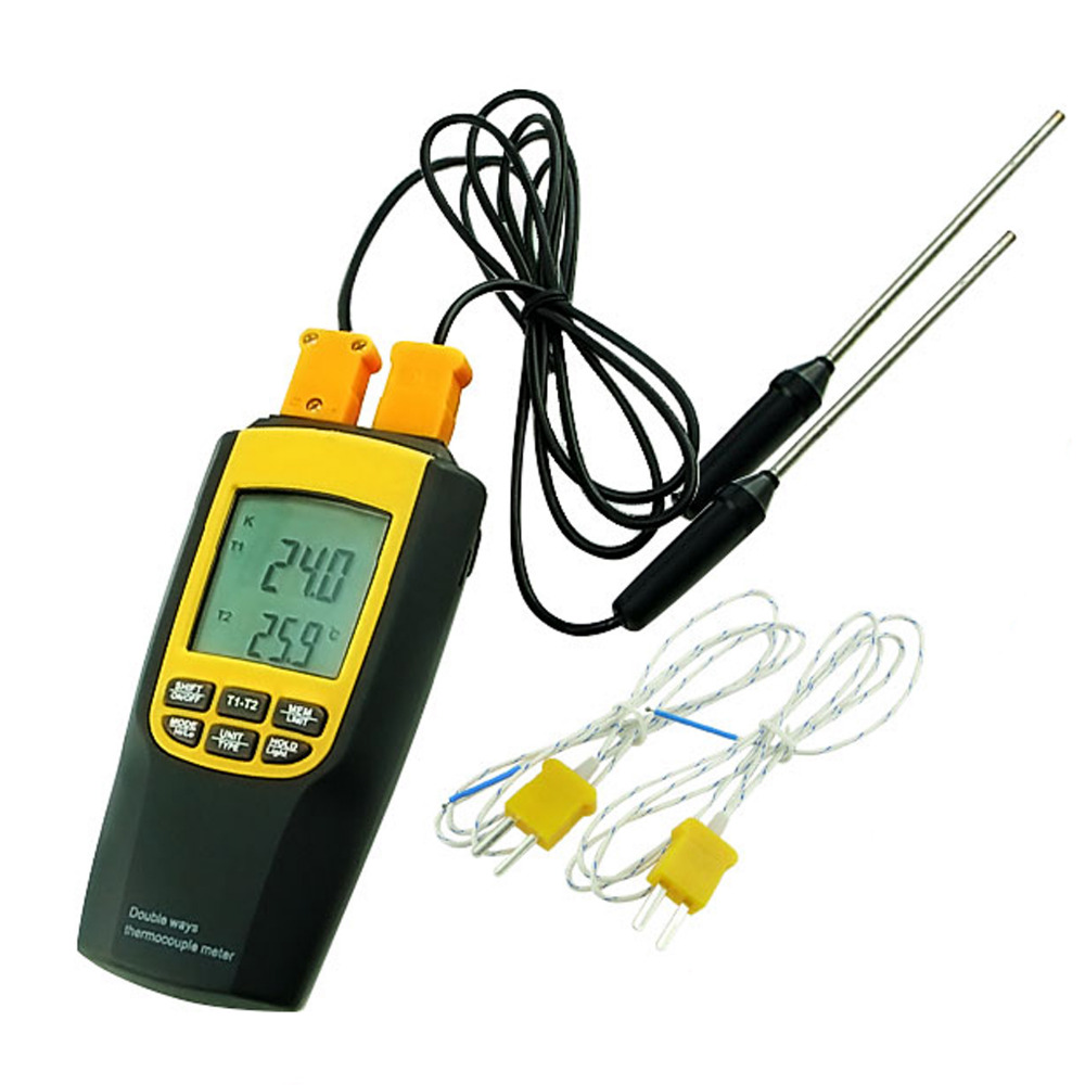 Industrial Digital K / J Type Thermocouple Thermometer 4 Probes Celsius / Fahrenheit Temperature Tester az 8851 3 in 1 portable k j t single thermocouple thermometer meter thermometer tester