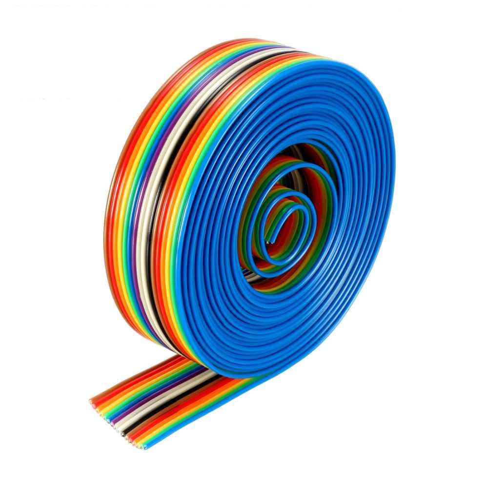 UXCELL 1 m 20 P 26 P 30 P 40 P 3 m 16 P Rainbow kolor kabel mostkujący wstążki płaskie kabel do sklejki DIY fit 1.27mm rozstaw pinów nowy