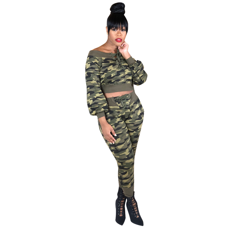 Autumn Camouflage 2 Piece Set Women Long Sleeve Camo Print Bandage Tops And Pants Casual Outfits Suit Two Piece Tracksuit