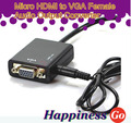 BrankBass Micro HDMI to VGA Female Audio Output Converter Projector Adapter Cable Chipset