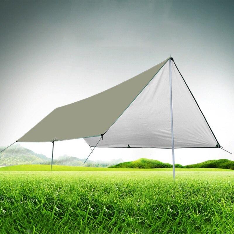 Camping en plein air survie abri soleil ombre tente pluie auvent ultra-léger bâche auvent revêtement argent Pergola étanche tente de plage