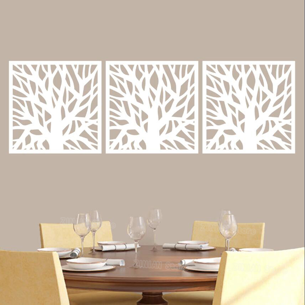 Tree Branch Squares Wall Decal Set Removable Plant Wall Sticker Living Room Bedroom Dining Room Office Decor Wallpaper Z352