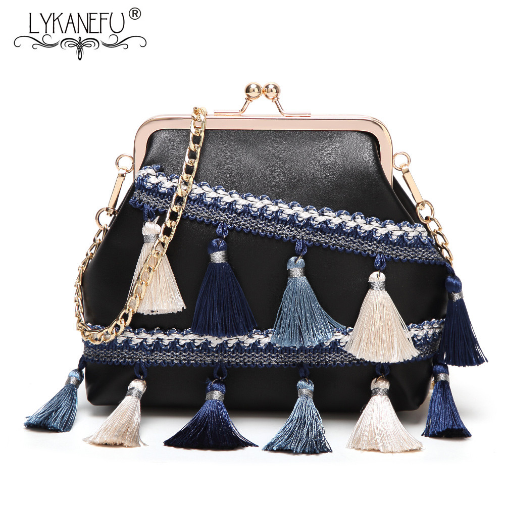 LYKANEFU Brand Frame Women Messenger Bags with Tassel Chain Crossbody Bags for Women Bag Clutch Purse Handbag Bolsa Feminina