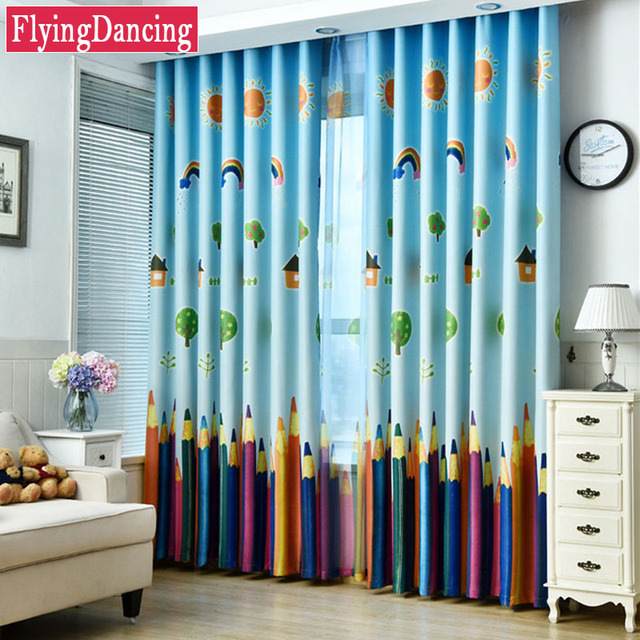Blue Colorful Pencils Kids Curtains Baby Room Curtains For Living ...