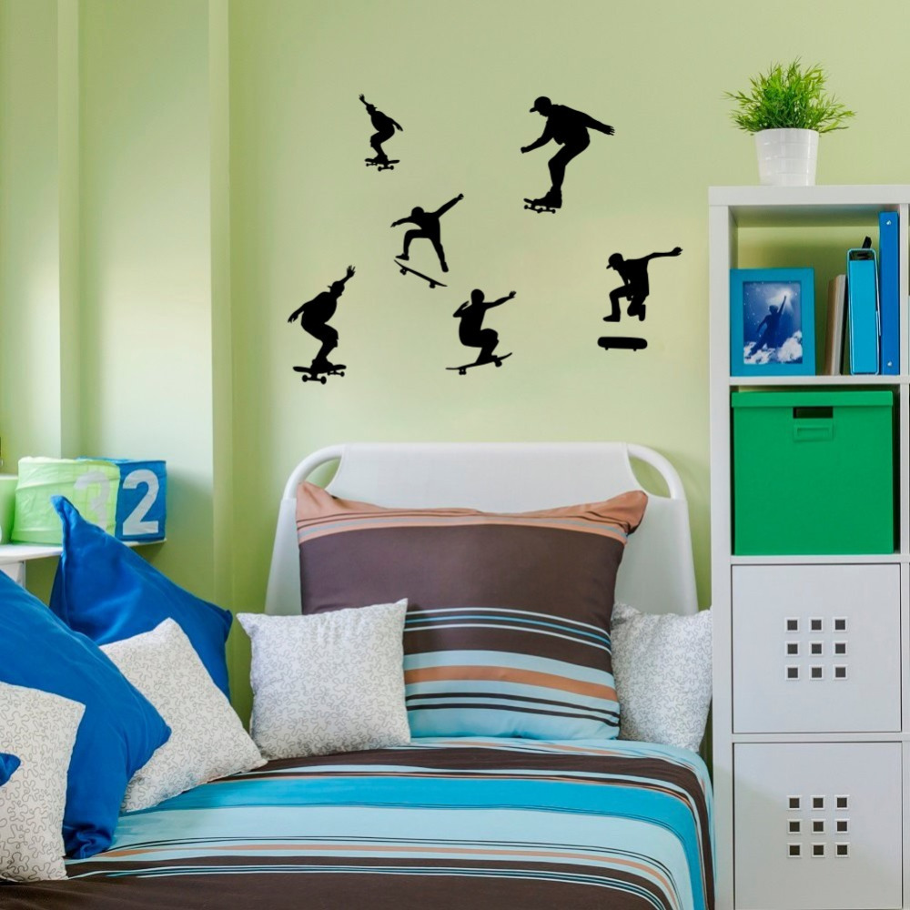 DIY Six Skate Boarding Silhouettes Wall Stickers Boys Room Sports Wall Decals