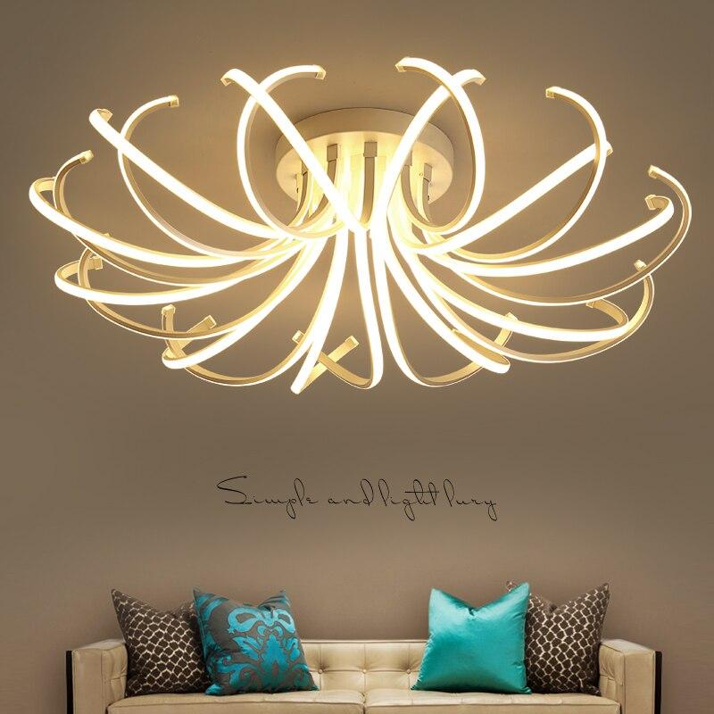 Купить с кэшбэком Living Room Bedroom Modern Led Ceiling Lights White Color Aluminum avize AC85-265V lamparas de techo Ceiling Lamp Fixtures
