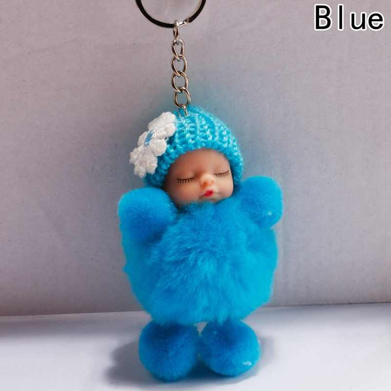Sleeping Baby Doll Ball Key Chain Car Keyring Holder Bag Pendant Charm Keychain Plush Fur New Cute Women Key