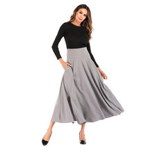 &35 winter skirt High Waist Pleated A Line Long Skirt Front Slit Belted Maxi Skirt womens skirts female saia jeans cintura alta(China)