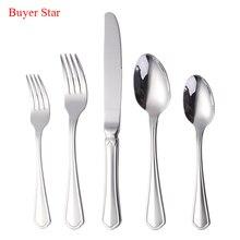 20-piece Silver Cutlery Set 304 Stainless Steel Dinnerware Used Restaurant Dinner Knife Fork Western Dining Tableware wholesale