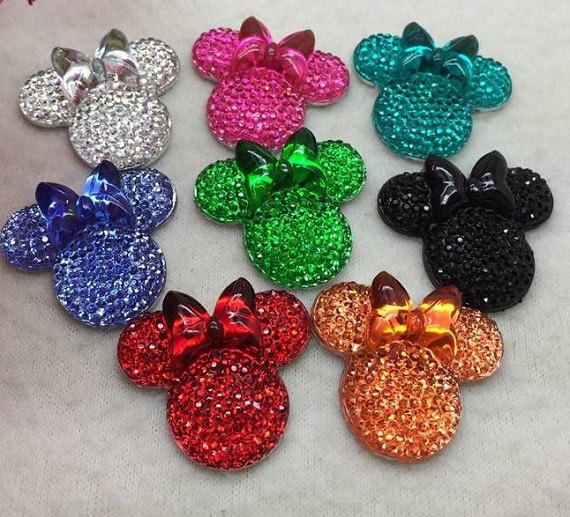 10 x 24mm PINK GLITTER FLAT BACK RESIN MOUSE HEAD GEMS HEADBANDS CARD MAKING BOW