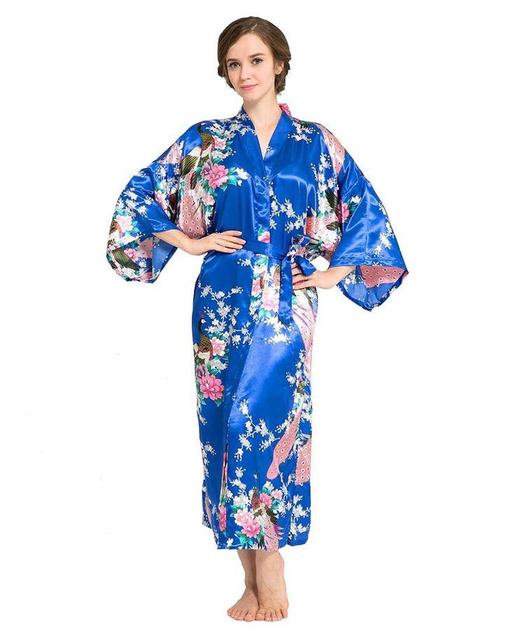 New Blue Chinese Women Silk Rayon Robes Sexy Sleepwear Flower Kimono Night Gown pijama feminino Plus Size S To XXXL NR015
