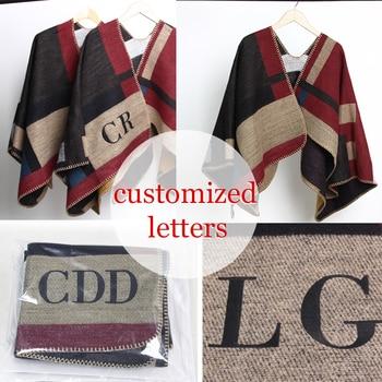 2016 neue Marke Frauen Poncho Monogramed Decke Poncho Kaschmir Wolle Personalisierte initialen Schal plaid poncho cape winter poncho