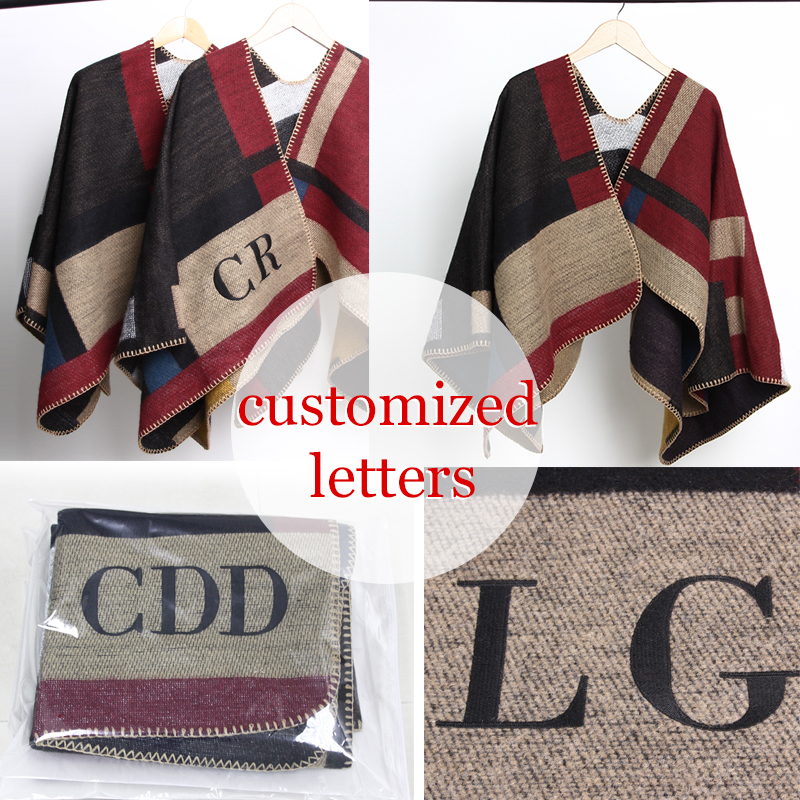 2016 new Brand Women Poncho Monogramed Blanket Poncho Cashmere Wool Personalized initials Scarf plaid poncho cape winter poncho-in Women's Scarves from Apparel Accessories