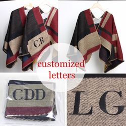 2016 new Brand Women Poncho Monogramed Blanket Poncho Cashmere Wool Personalized initials Scarf plaid poncho cape winter poncho