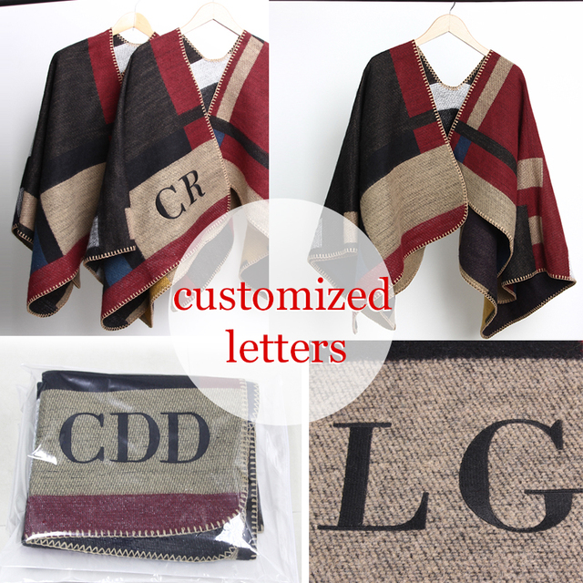 0a17fbed0 2016 new Brand Women Poncho Monogramed Blanket Poncho Cashmere Wool  Personalized initials Scarf plaid poncho cape winter poncho