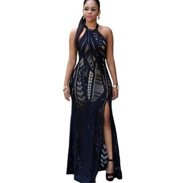 adc75bbb077 US $31.33 |ECHOINE Summer Long Dress Women Party Floor Length Dresses  Halter Neck Lace Nude Illusion Key Hole Back Maxi Dress Black/White on ...