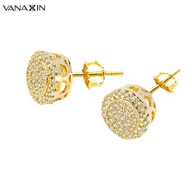 Vanaxin Charms Stud Earrings Gold Black Color Aaa Light Yellow Cubic Zirconia Round