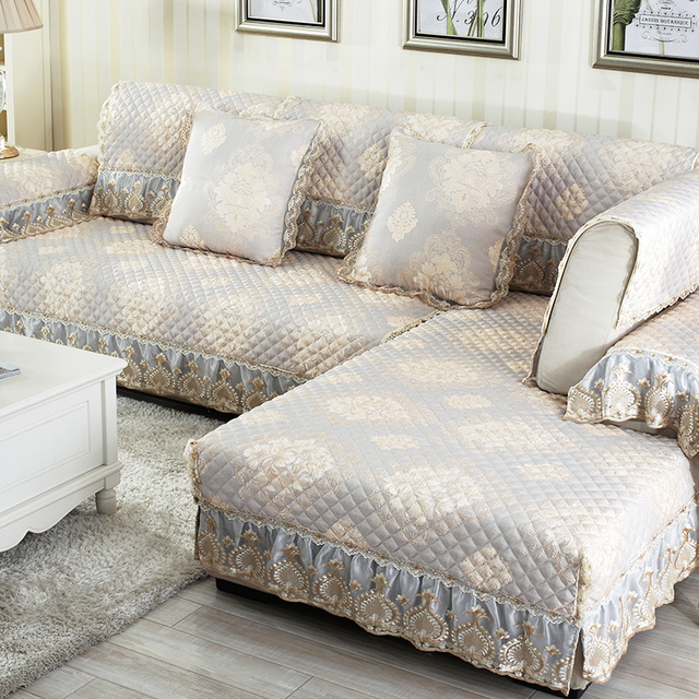 Quilted Cotton Sofa Cover Breathe Freely Jacquard Fabrics