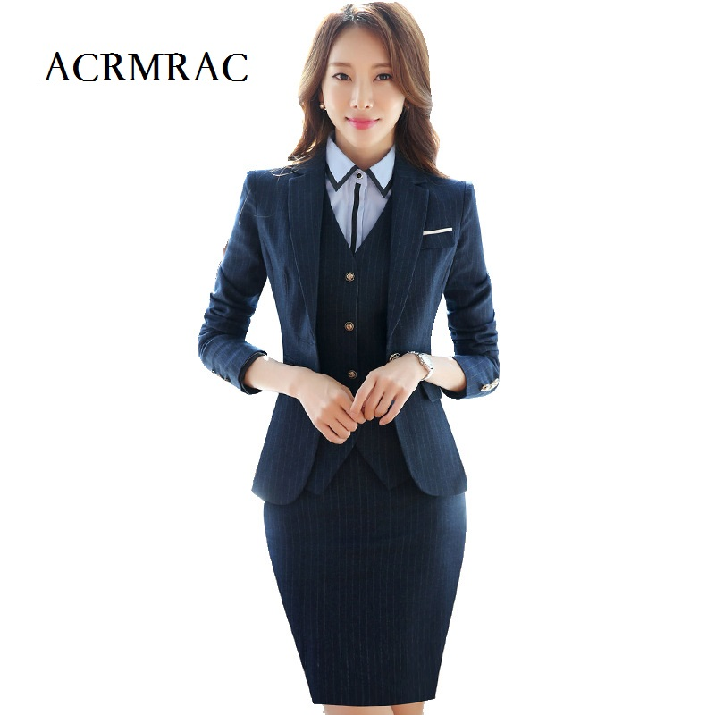 ACRMRAC Womens suits New style Spring and autumn suit Long sleeve stripe Slim jacket pants Business OL Formal Pants Suits