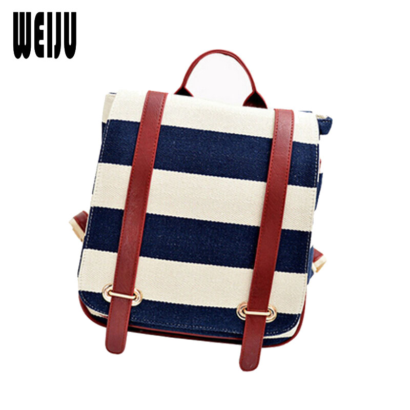 WEIJU 2017 New British Retro Women Backpack Striped Navy Preppy Style School Backpacks Bags Canvas Travel Bag 7.16-229