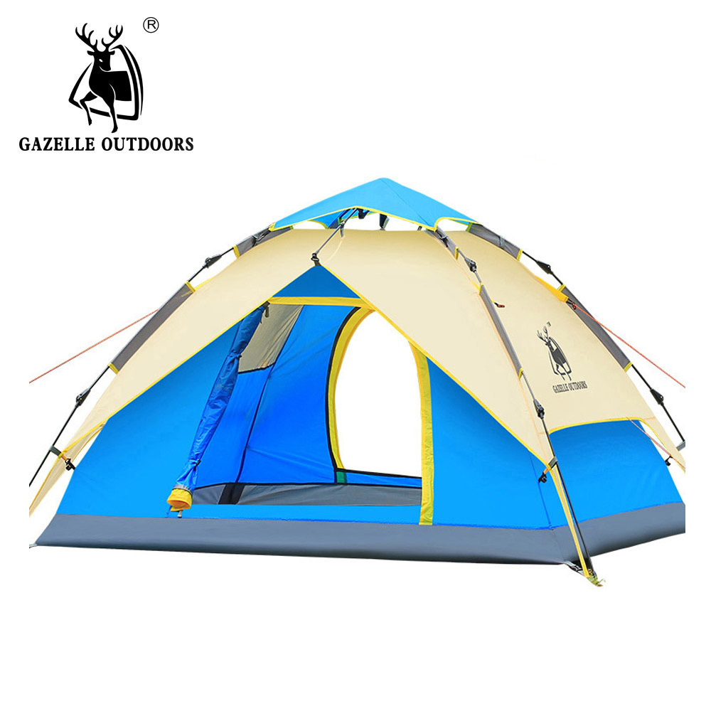 Hydraulic Automatic Windproof Waterproof Double Layer Tent 3-4 person Tents Ultralight Outdoor Hiking Camping Tent Picnic Tents qiachip uk plug wifi smart switch 2 gang 1 way light wall switch app remote control work with amazon alexa google home timing