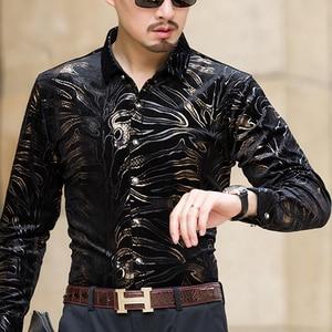 Image 2 - مو يوان يانغ جديد الرجال قمصان بأكمام طويلة مع عالية الجودة الفانيلا قميص أسود يتأهل ملابس رجالي 50% قبالة كبير حجم 3XL
