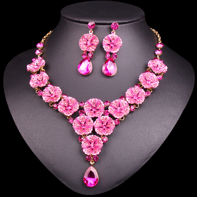 Fashion Pink Flowers Crystal Bridal Jewelry Sets Wedding Party Costume Jewellery Indian Necklace Earrings Sets For Brides Women