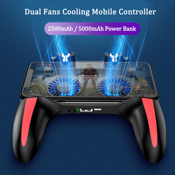 Pubg mobile controller with double fan cooling for iphone ios android phone game pad free fire with 2500mah / 5000mah power bank