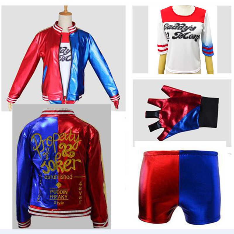 Suicide Squad Harley Quinn Cosplay Kostüm für Kinder erwachsene Mädchen Halloween Karneval Kleid Harley Quinn Jacke Unterwäsche T hemd
