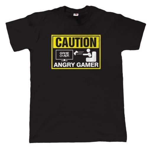 Caution, en colere joueur, HOMMES Droles T-shirt Jeux Video, cadeau Funny O-Neck T shirt Short Sleeves Cotton T-Shirt