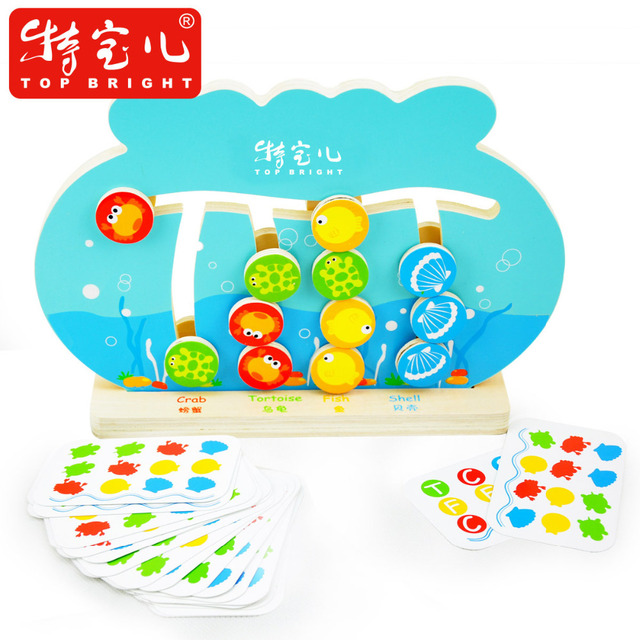 Candice guo! New arrival educational wooden toy fish tank play game frame 2 sides logical reasoning early development 1pc