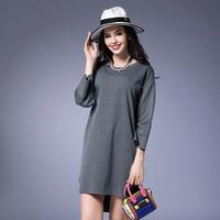 Black Gray Loose Casual Dress Nine Points Sleeve Knit Irregular Dresses Robe Femme L XL 2XL