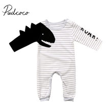 1ee3257f5 2018 Brand New Newborn Toddler Infant Baby Boy Girl Long Sleeve Dinosaur  Romper Jumpsuit Striped Outfits Set Boy Cool Clothes