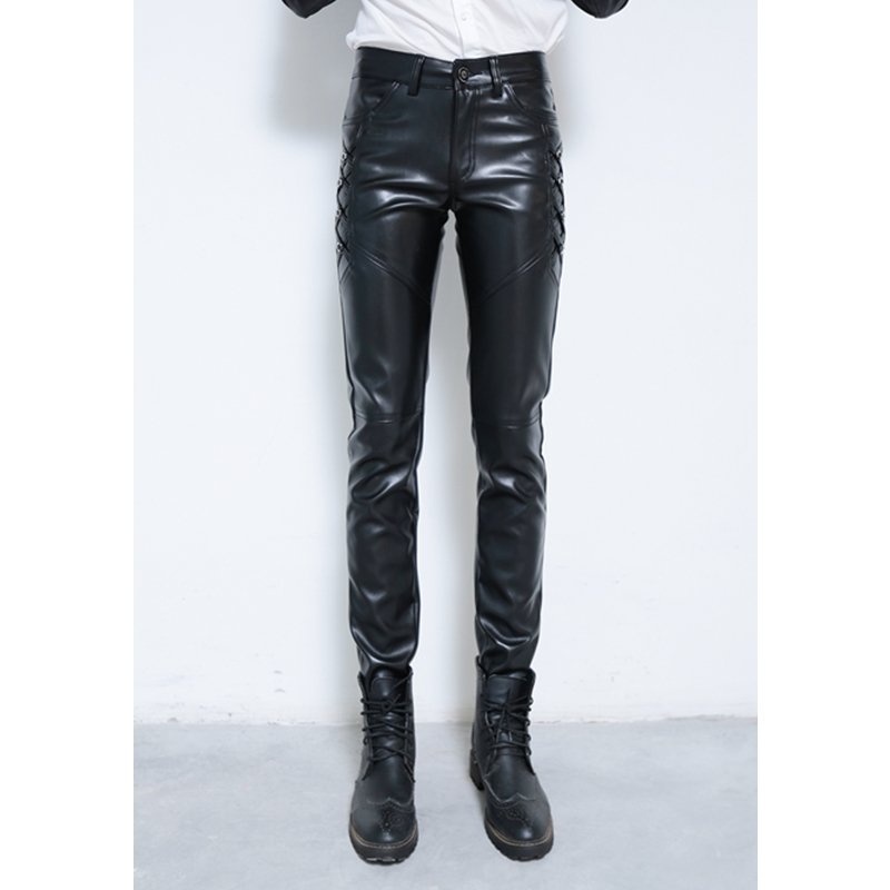 New Fashion Mens PU Leather Pants Male Skinny Trousers Biker Nightclub College Party Pant Size 28-36