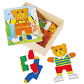 1 Set Educational Toys Wooden Clothing Winnie Single Bear Locker Box Stereo Cute Jigsaw Puzzles Baby Kids Creative Game Gifts