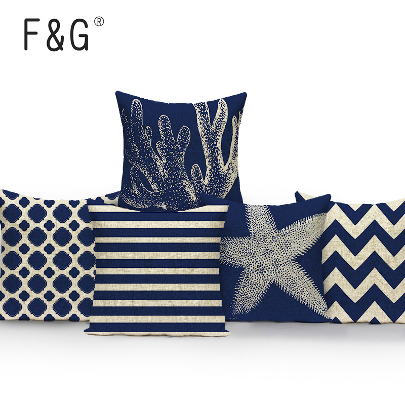 Blue Pillow Covers Living Room: Starfish Blue Geometric Pillow Cover Living Room