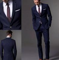 Индивидуальный заказ темно синий мужской костюм, костюм, заказ свет Темно синие Нарядные Костюмы для свадьбы для мужчин, Slim Fit Жених смокинг