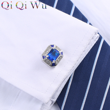 2016 High Quality Atmosphere Blue Crystal Cuff Square Button Shirt Brand Cuff Links Jewelry Wedding Gift цены