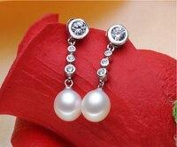 925 Sterling Silver Zircon Natural Pearl Dangle Earrings