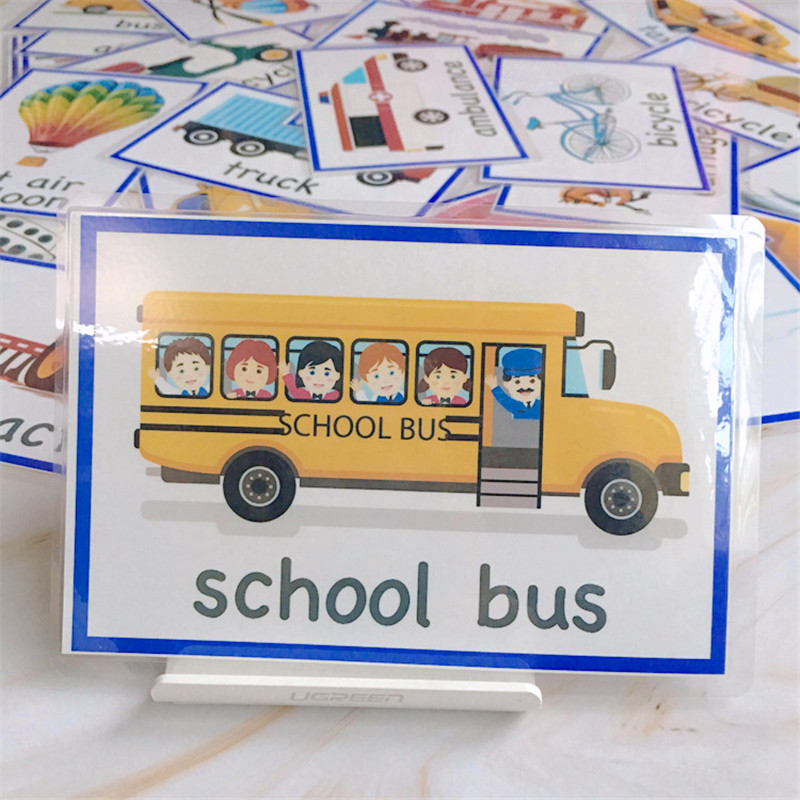28Pcs/Set Montessori English Learning Cards For Children Kids Flash Cards Baby Traffic Pattern Bus Taxi Car Educational Toys