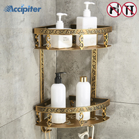 Nail Free Bathroom Shelves 2 Layer Antique Metal Shower Corner Shelf Wall Mount Shampoo Shelf bathroom accessories
