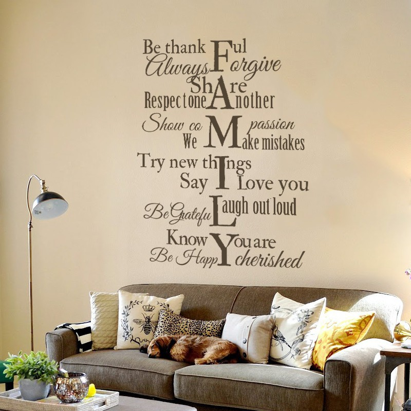 Family Wall Decal Rules Vinyl Wall Quote Be Thankful Say I Love You For  Home Bedroom Family Room 132cm X 99cm In Wall Stickers From Home U0026 Garden  On ...
